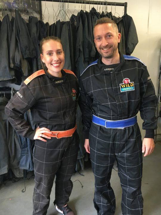 Getting geared up ready for Go-karting.