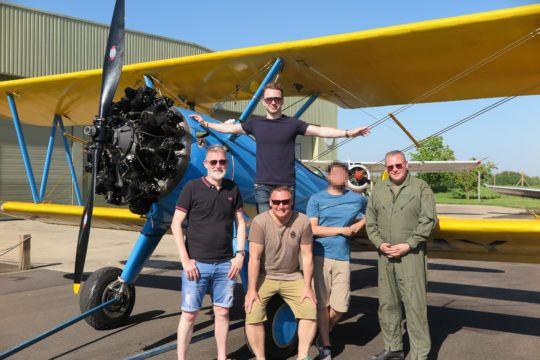 A sunny team day out flying in the Stearman.