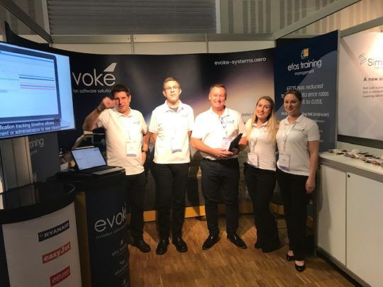 Evoke attending the European Aviation Training Symposium in Berlin